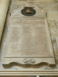 The Bath and Wells Diocesan Association War Memorial in Bath Abbey