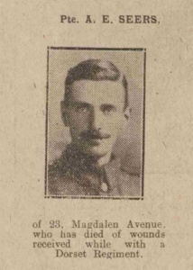 Pte. A. E. Seers; from the Bath Chronicle, 26th October 1918, p. 19.